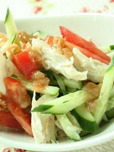 ささみと夏野菜のさっぱり味噌梅ドレッシング