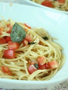 塩漬けバジルnoフレッシュトマトスパゲティ