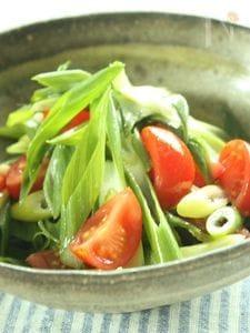九条ねぎとミニトマトのさっぱり塩ごま油和え