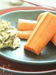蒸しにんじん・海苔の佃煮とクリームチーズディップ