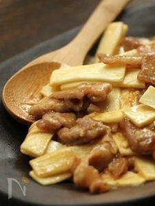 【マコモと豚肉のオイスター味噌炒め】