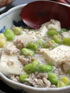 【そら豆と豆腐の炒め】