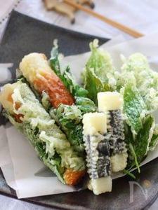 ちくわの大葉巻きの天ぷらなど3種