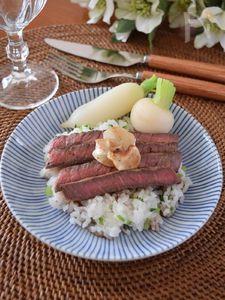 七草ライスのステーキ丼 マンネリ七草粥にさようなら~!