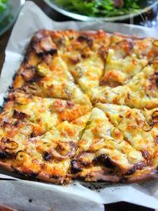 照り焼きチキンと長葱のピザ