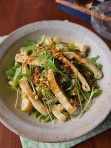 水菜と油揚げの香味醤油サラダ