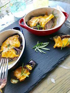 茄子と牛タンのミモレットチーズ焼き