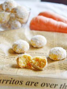 人参のスノーボールクッキー♡上品で優しい味の冬のお菓子。