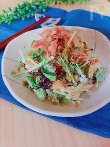 小さなおかず♪オクラと水菜の塩昆布マヨサラダ