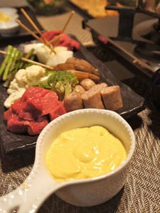 オイルフォンデュー野菜にホワイトソース