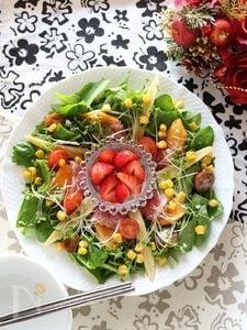 柿と生ハムのリーフサラダ