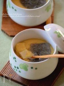 加熱3分!お豆腐の茶わん蒸し 生しらす乗せ