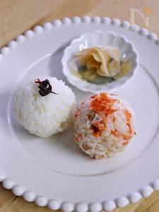 圧力鍋で麦ごはん~梅&鮭おにぎり~★