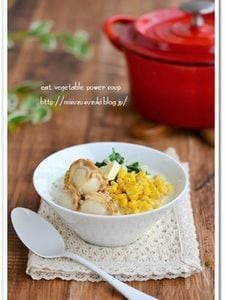 帆立と切り干し大根食べる味噌バタースープ