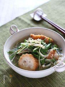 シャキシャキ!!水菜と油麩のさっと煮