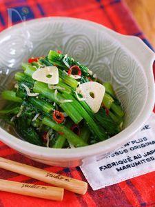 材料入れて放置で3分『小松菜とじゃこのガーリックオイル蒸し』