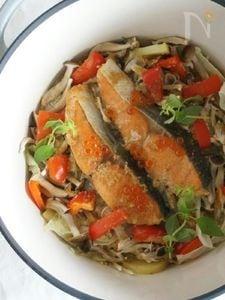 秋鮭のちゃんちゃん焼き風、温野菜
