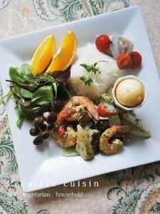 野菜&海老グリーンカレー炒ランチプレート