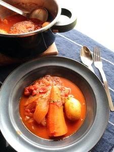 圧力鍋で加圧1分!野菜もたっぷり!ハンバーグトマト煮込み