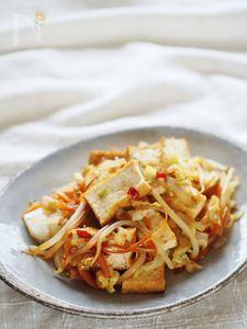 白菜と厚揚げのネギ塩炒め