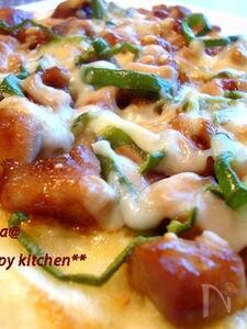 持ちする照り焼きチキンで♪照り焼きチキンピザ