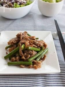 ニンニクの芽と豚肉と舞茸の中華風炒め