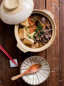 牛鍋風甘辛トマト肉どうふ鍋