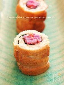豚肉モモ肉の梅味de紫芋巻き