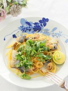 すだち香る秋刀魚のペペロンチーノ