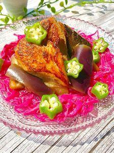 冷凍茄子とタンドリー風鯖のかんたん黒酢浸し♡作り置きにも♪
