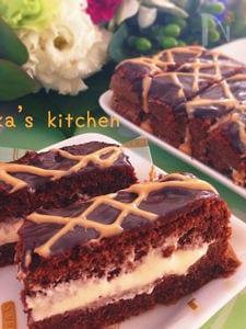 至福のチョコケーキ♡マシュマロキャラメルクリームがけ♪