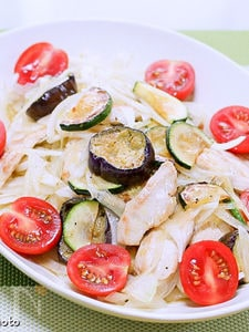 薄切りチキンと茄子のマリネサラダ