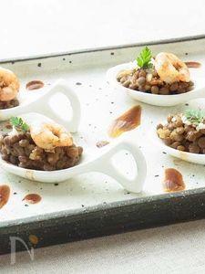 レンズ豆と海老のパプリカ風味