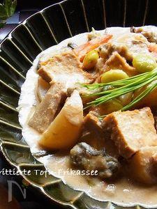 牡蠣と厚揚げの酒粕クリーム煮