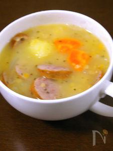 ドイツ風マメと野菜とソーセージのスープ