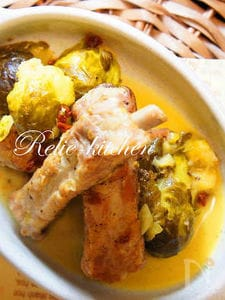 スペアリブと芽キャベツのクリーム煮