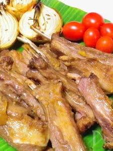 ◆ラム肉スペアリブのオーブン焼き◆醤油麹とユズ茶で