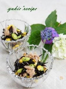 ひじきとツナと彩り野菜のわさびドレッシング和え