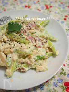 アスパラとベーコンの豆腐カルボナーラ風