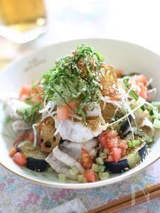 野菜がメインの冷しゃぶサラダ