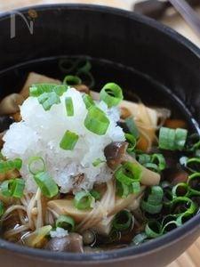 豆腐とたっぷりきのこのおろし汁