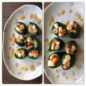 チンゲン菜で巻いた2種類のひとくちロール