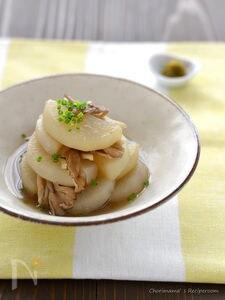 柚子胡椒で!大根の舞茸だし煮