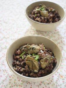 牡蠣の黒米炊き込みごはん
