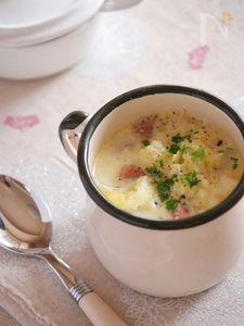 白い冬野菜のミルクスープ。