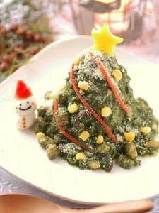ホウレン草とお豆のグリーンカレー☆クリスマスツリー仕立て