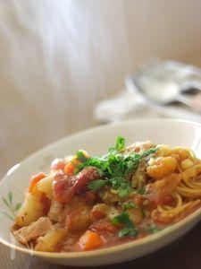 ミネストローネで煮込む早ゆでスパゲティ