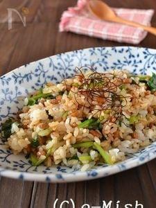 納豆とほうれん草のピリ辛チャーハン