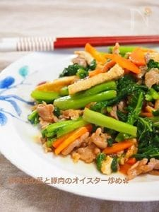 ビタミンたっぷり!ご飯がすすむ♫菜の花と豚肉のオイスター炒め