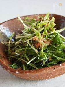 しゃきしゃき水菜とまぐろのポン酢サラダ